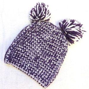 Purple and white knit double pom-pom beanie